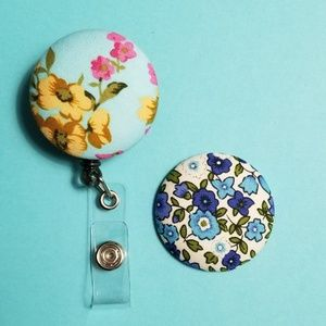 Retractable Badge Holder with 2 Covered Buttons